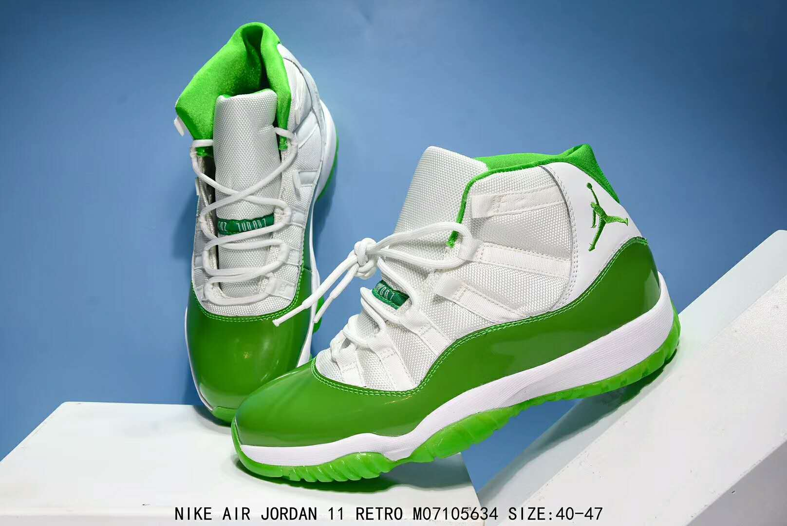 Men Air Jordan 11 Apple Green White Shoes
